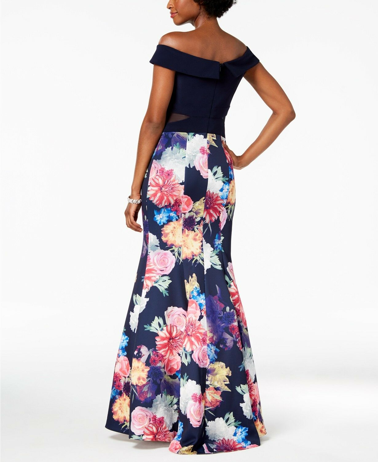 405 XSCAPE WOMEN'S blueE PINK FLORAL OFF-THE-SHOULDER MERMAID GOWN DRESS SIZE 2 1508f5