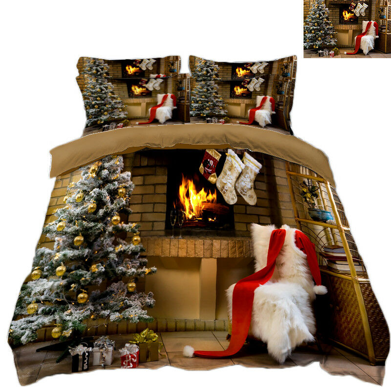 3D Christmas Xmas Stove 90 Bed Pillowcases Quilt Duvet Cover Set Single Queen UK