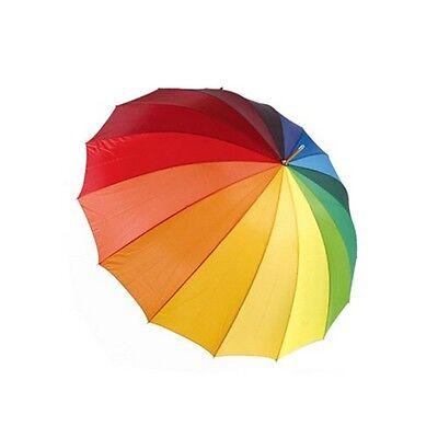Drizzles 16 Panel Rainbow Golf Walking Long Umbrella