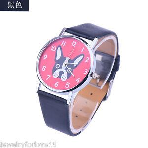 FL-Unisex-Uhr-Quarzuhr-Armbanduhr-Kinderuhr-Analog-Lederband-Hund-Geschenk