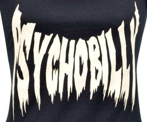 LADIES TANK VEST PSYCHOBILLY HORROR PRINT ROCKABILLY BAT HORROR PUNK S-2XL