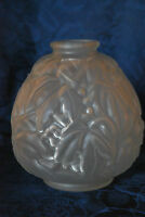 Vintage Carrillo French Art Deco 1930's Lalique Style Frosted Glass Vase  #95