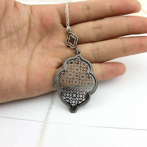 Cut Off Gold Filigree Quatrefoil Statement Long Chain Pendant Necklace for Women