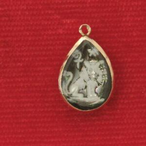 Reverse Carved Leo Zodiac Sekmeth Egyptian God Gold over Silver Pendant Ch 12
