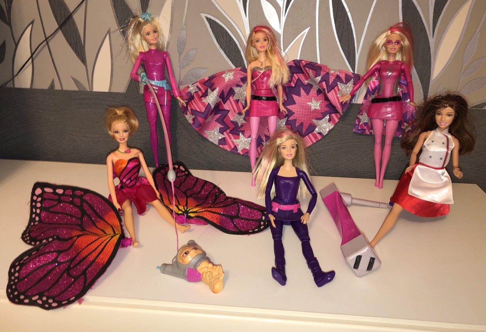 6 Barbie Puppen Paket Konvolut Fashionistas Set Super Prinzessin Dreamtopia Rosa