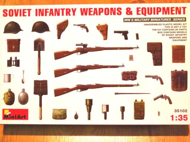 Miniart 1:35 Soviet Infantry Weapons & Equipment WW II Era Model Kit