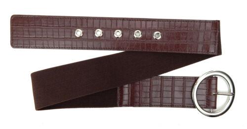 Ella Jonte breiter Stretchgürtel braun silber Gürtel elastisch 75-100 cm Damen