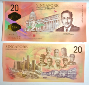 Singapore $20 Twenty Dollars Commemorative 2019 Bicentennial Banknote UNC
