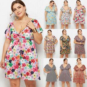 Plus-Size-Women-Tea-Dress-V-Neck-Beach-Flower-High-Waist-Boho-Wrap-Summer-Casual