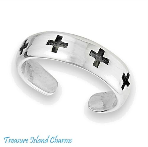 PINKY RING CROSSES CROSS ROUNDED BAND 925 Solid Sterling Silver Adjustable TOE