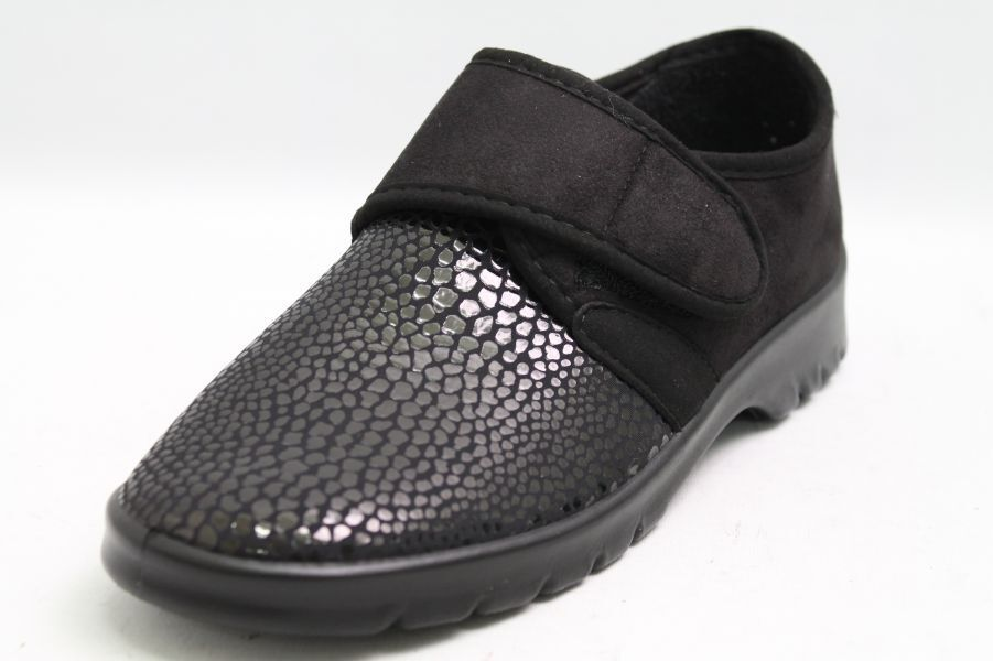 modelo más vendido de la marca Varomed zapatos zapatos especiales negro microvelours velcro ancho h 1/2