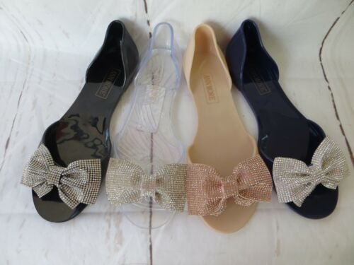 CURACAO JELLY SANDAL WOMEN SHOES FLAT DIAMOND BOW TIE BALLERINA BY ANN MORE