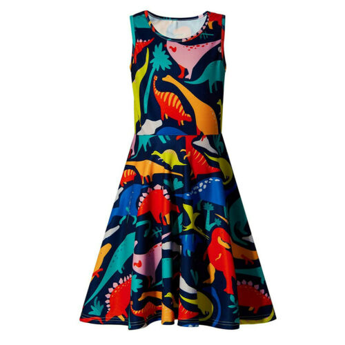 Kids Baby Girls Sleeveless Planets Printing Dress School Party Flakes Clothes UK