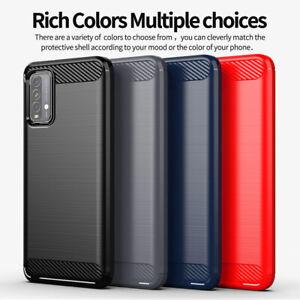 For Xiaomi Poco M3 Mi 10T Shockproof Fiber Carbon Silicone Soft TPU Case Cover