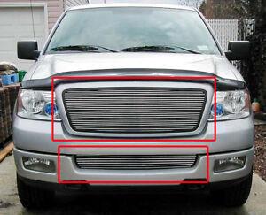 05 F150 Bumper >> Details About 04 05 Ford F150 F 150 Pickup Front Upper Bumper Lower Billet Grille Insert 2pcs