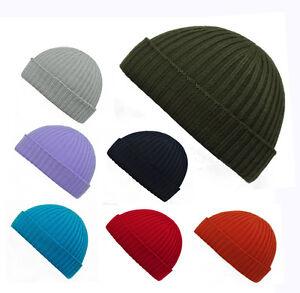 100% Fine Merino Wool Ribbed Beanie Hat Hats Headwear Warm Plain ... 2796368f2df5