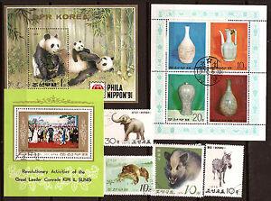 COREA-3-bloques-y-4-sellos-matasellados-Animales-temas-diversos-113T4