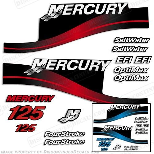 Mercury 125hp outboard decal kit bleu or rouge 125-all models