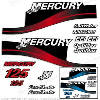 All Models Available Mercury 125hp Outboard Decal Kit 125 Blue or Red