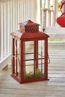 Large Red Lantern Lamp Light By Park Designs/country Primitive Lamp