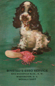 Vintage-Swap-Playing-Card-1-SINGLE-BUTCH-DOG-ADVERT-BINSTED-039-S-ESSO
