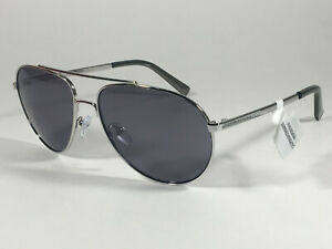 Authentic-Calvin-Klein-R167S-045-Aviator-Pilot-Sunglasses-Silver-And-Gray-Lens