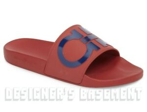 967f6ba8673942 SALVATORE FERRAGAMO men s 10M red   blue GROOVE slides FLIP-FLOPS ...