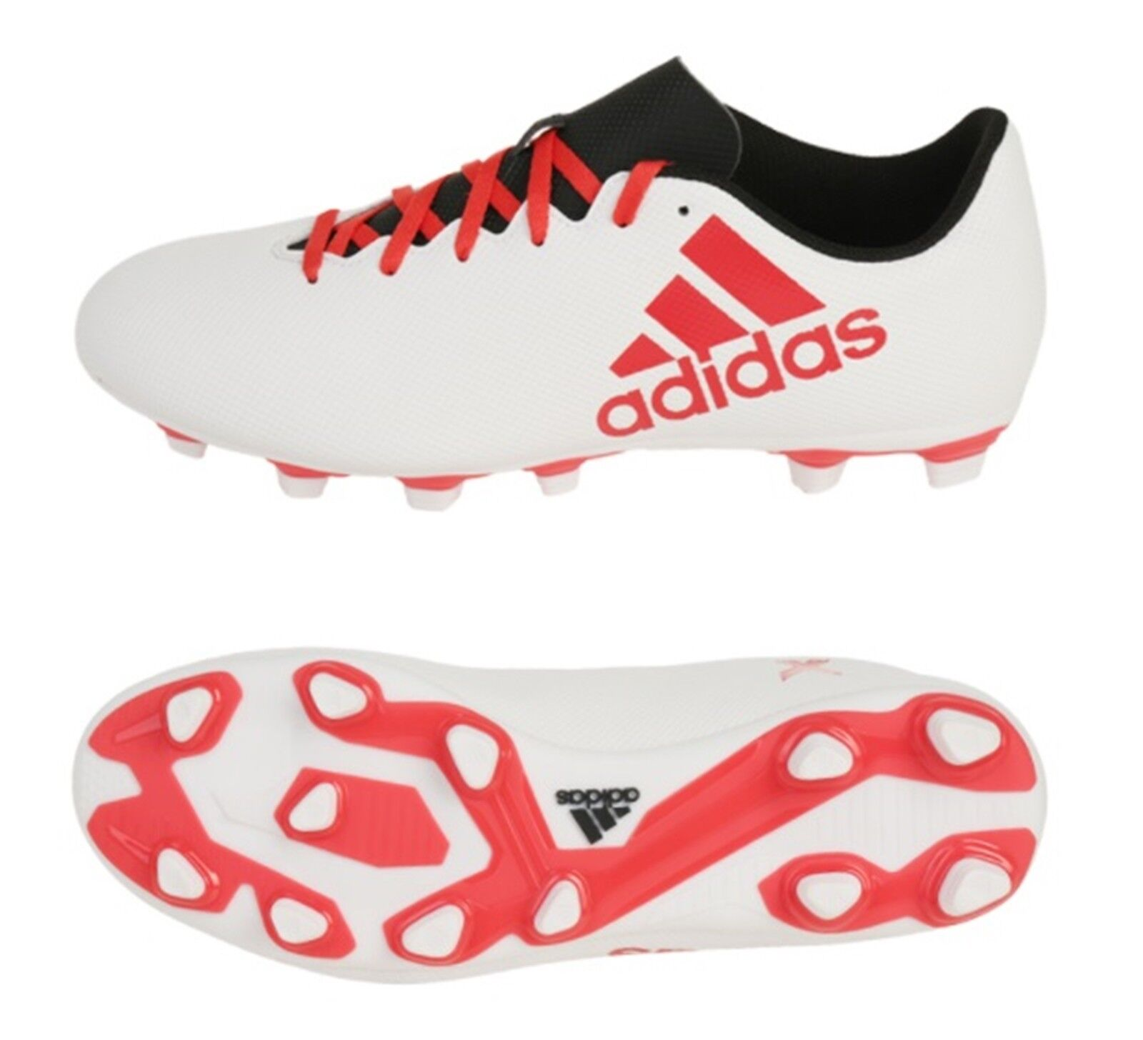 Adidas Men X 17.4 FxG Cleats Soccer White Red Football Futsal shoes Spike CP9196