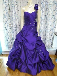 Mori-Lee-Deep-Purple-Prom-Dress-Size-18-Sweetheart-Corset-Jeweled-Ball-Gown