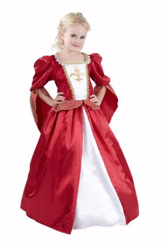 Edles mittelalterliches Königinnen-Kostüm für Mädchen rot-weiss-goldfarben Cod.1