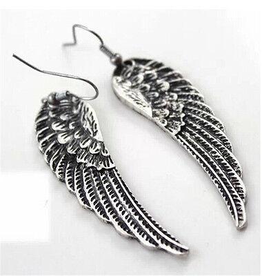 Vintage Women Angel Wings Tibet Silver Drop Dangle Earrings Fashion Jewelry Gift