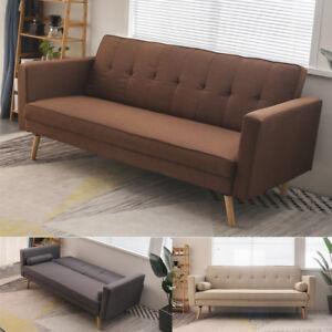 Peachy Details About Retro Modern Design Fabric 3 Seater Comfort Sofa Bed 2 Cushion Wooden Legs Frame Inzonedesignstudio Interior Chair Design Inzonedesignstudiocom