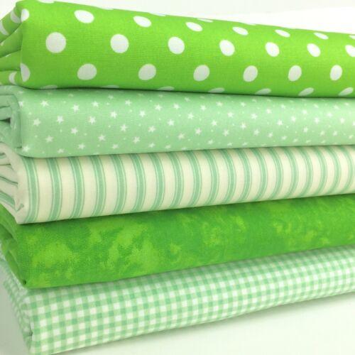 5 fat trimestre bundle Citron Vert Basics taches 100/% coton toile rayures....