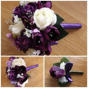Image Is Loading Purple Amp Ivory Tulip Wedding Flowers Brides Bouquet