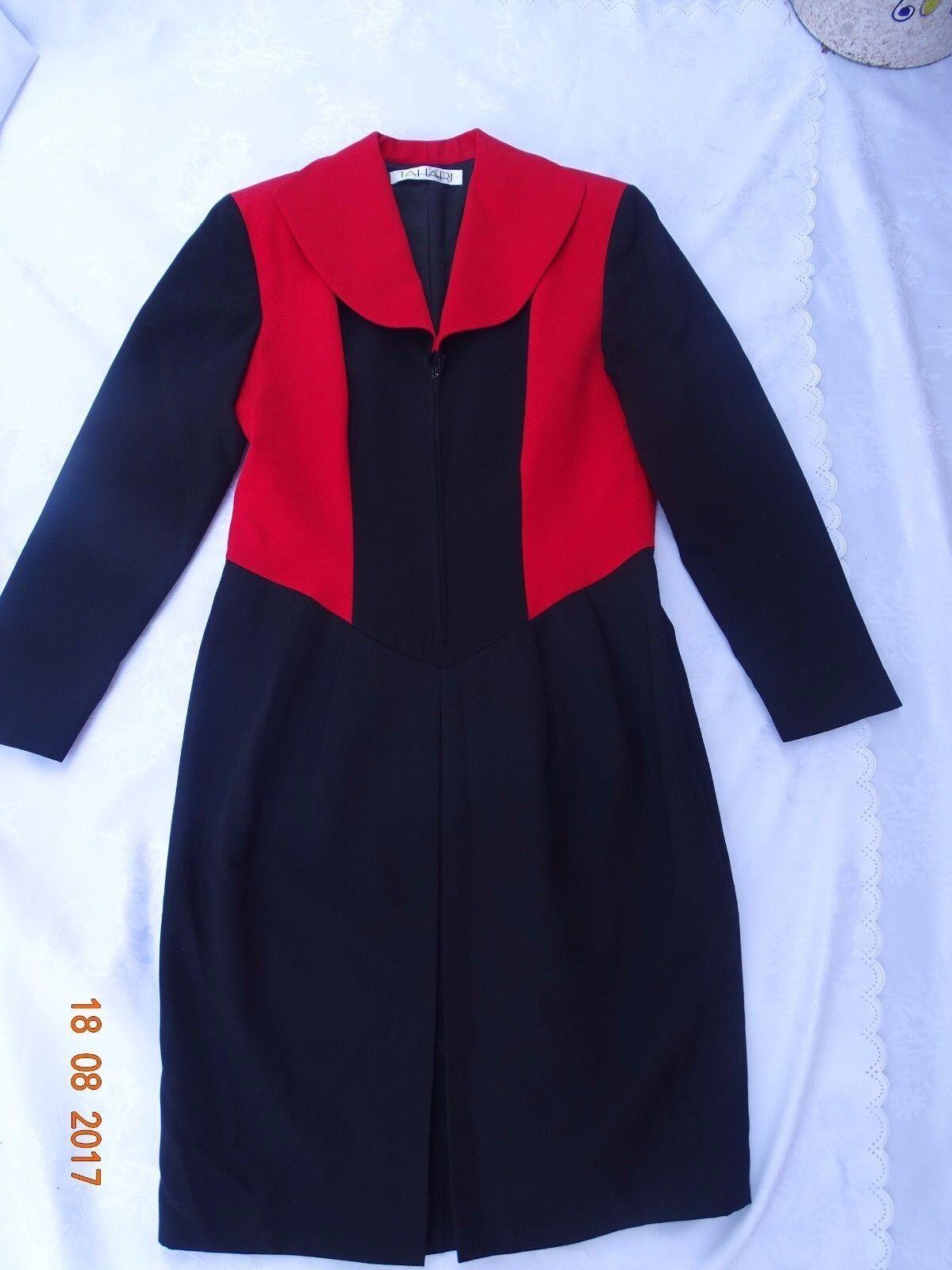 93eb27be5dc93a Tahari Schwarz Rot von Zipper Kleid Korea Größe M in Gefütterte ...