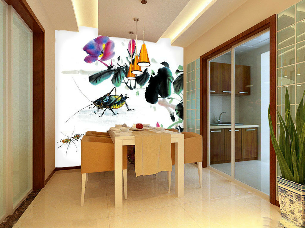 3D Flower Insect Painting 56 Wall Paper Wall Print Decal Wall Deco Indoor Mural