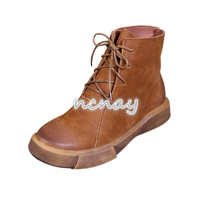 Para mujeres Con Cordones Cuero botas informales al tobillo Vintage Tobillo Alto Zapatos De Vaquero Occidental