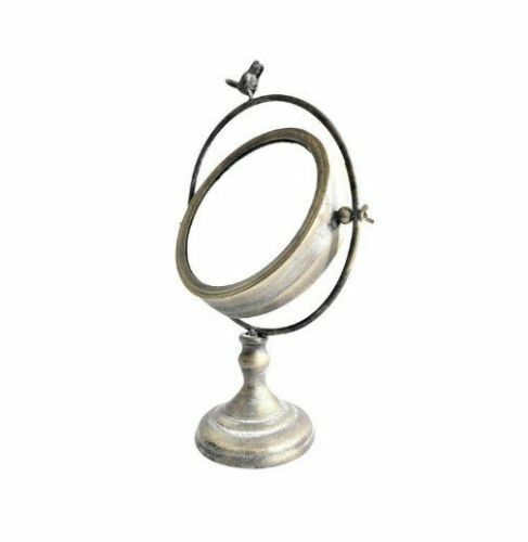 Metal Mirror On Stand With Bird Finial