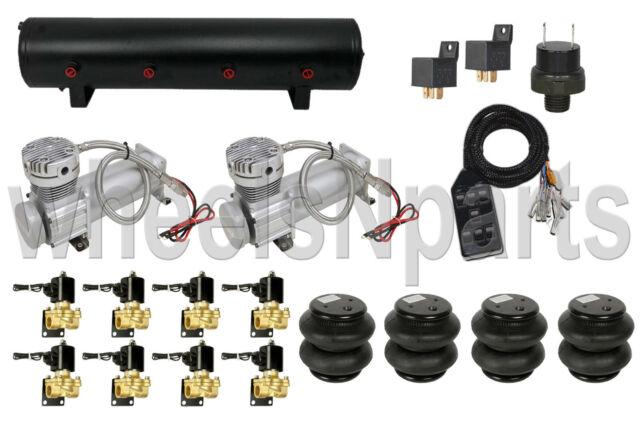 "AirMaxxx 480C Compressors 1/2"" Valves Brackets Air Ride 2600 Bags Black 7 Switch"