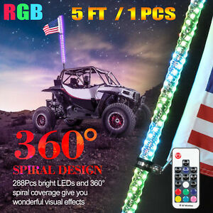 5ft Lighted Spiral Led Whip Antenna W Flag Remote Fit Atv Polaris Rzr Utv Buggy Ebay