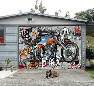 3d motorrad graffiti garage t r wand druck abziehbild wand dekor aj wallpaper de ebay. Black Bedroom Furniture Sets. Home Design Ideas