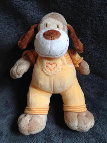 358-Peluche Doudou Chien beige marron Salopette orange-MOTS D/'ENFANTS-Comme neuf