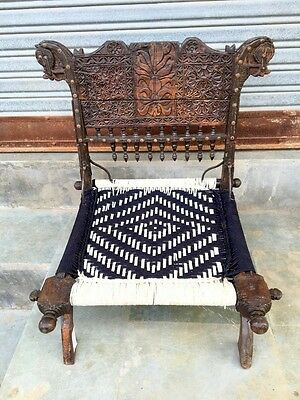 Chairs Dedicated 1800's Antique Old Wooden Hand Carved Waving Pida Lower Coffee Chair Pure Whiteness Furniture