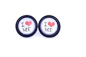 034-I-love-amo-me-034-carini-15mm-cuore-bottone-orecchini-Trasparente-a-cupola-su