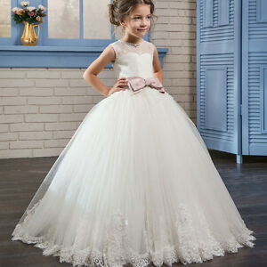 3b761a70554 Image is loading Formal-Flower-Girl-Dress-Kids-Pageant-Bridesmaid-Wedding-