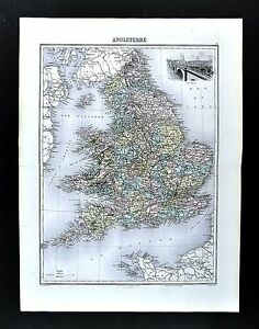 1880-Migeon-Map-England-amp-Wales-London-Liverpool-Bristol-Thames-Britain-UK