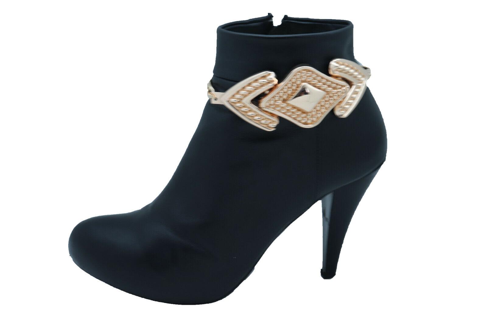 Women Gold Color Metal Chain Boot Bracelet Western Shoe Anklet Arrow Bling Charm