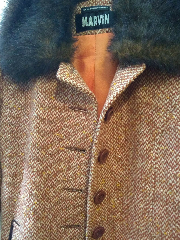 Vintage orange Brown Marvin Richards Richards Richards Women's Coat w Faux Fur Collar Wool Blend S 2f98ae