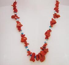 Collana Corallo antico con Turchese e Perline 56cm OMA19