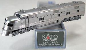 N-Scale-EMD-E5A-Locomotive-CB-amp-Q-9910A-034-Silver-Speed-034-KATO-176-5401